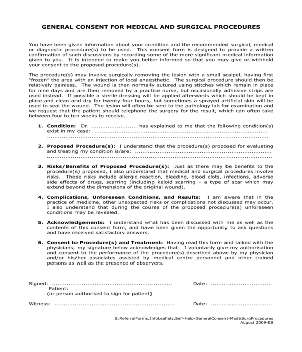 surgical procedure medical general consent form