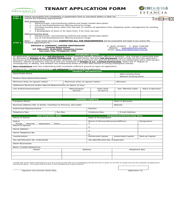 tenant application form in doc