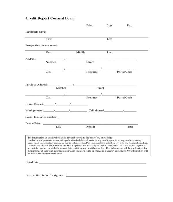 tenant background check credit report consent form