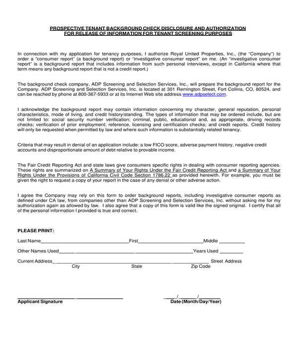 tenant background check disclosure form