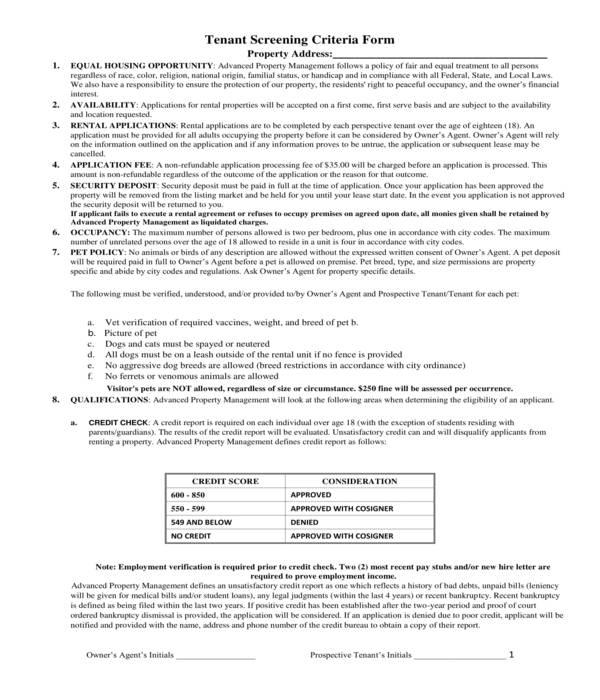 tenant background screening criteria form