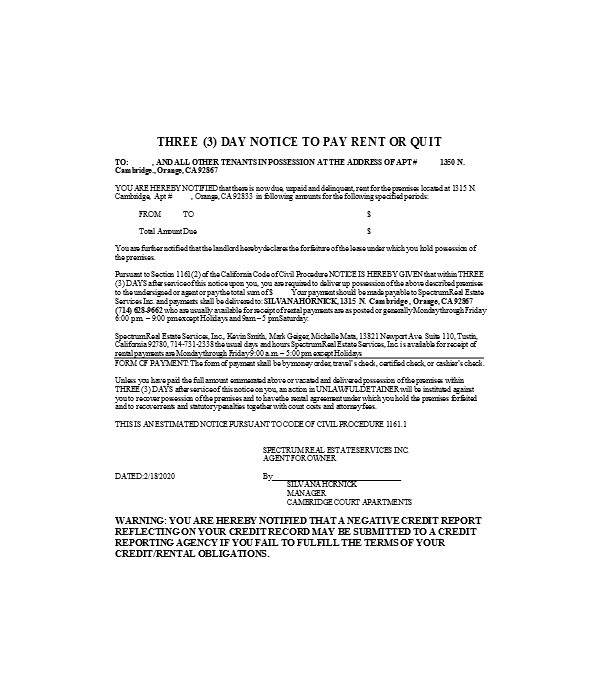 three day notice to pay rent or quit form sample