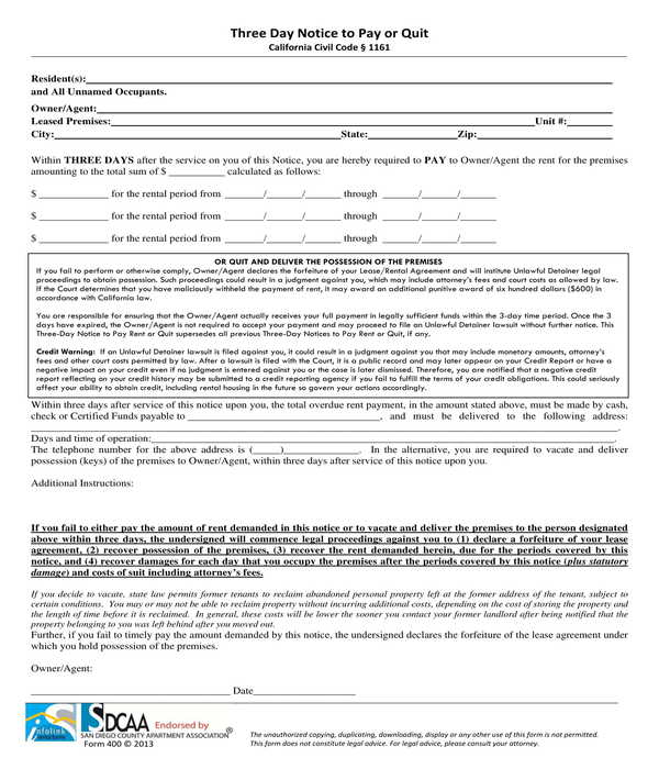 three day notice to pay or quit form sample