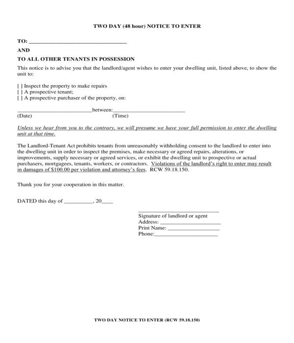 two day notice to enter dwelling unit form