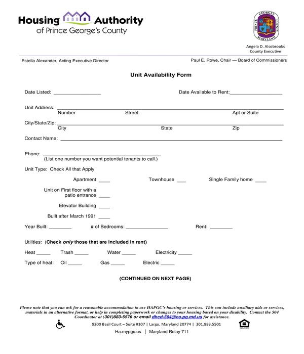 unit availability form
