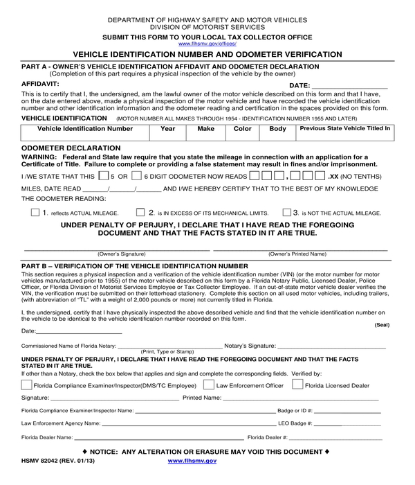 vin and odometer verification form