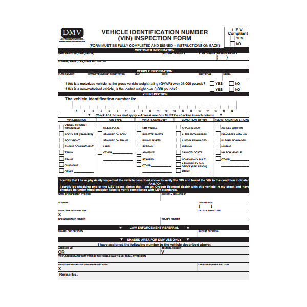 vehicle identification number inspection form