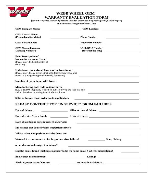 warranty evaluation form