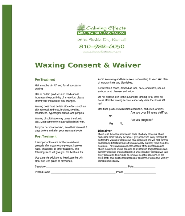 waxing consent form in doc