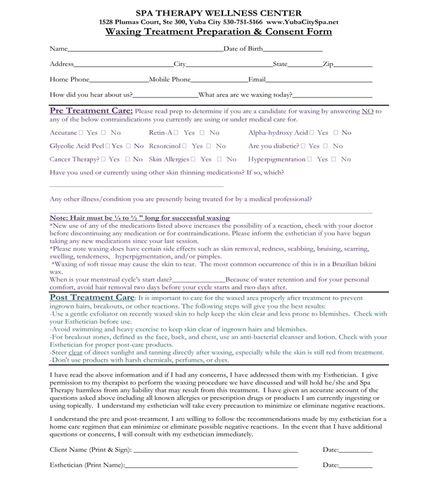 waxing treatment preparation and consent form