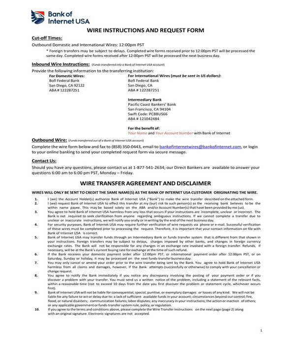 wire transfer instructions and request form