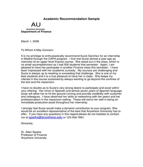 academic internship recommendation letter