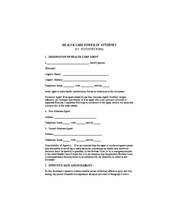 advance health care power of attorney form