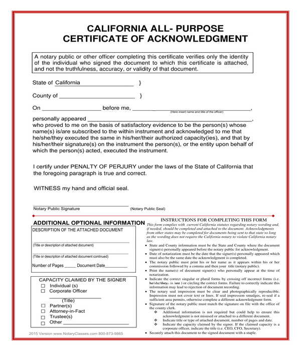 all purpose notary acknowledgment form