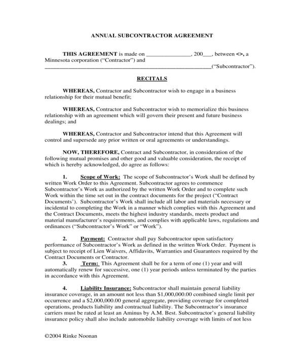 annual electrical subcontractor agreement form