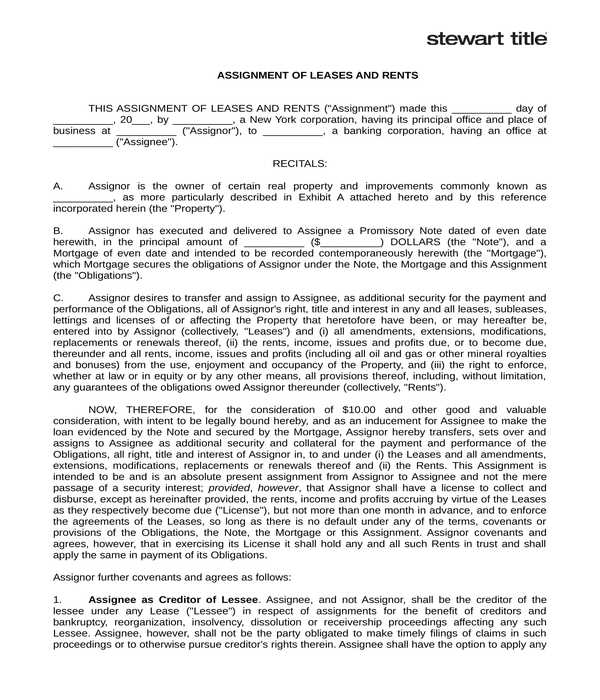 assignment of lease form in doc