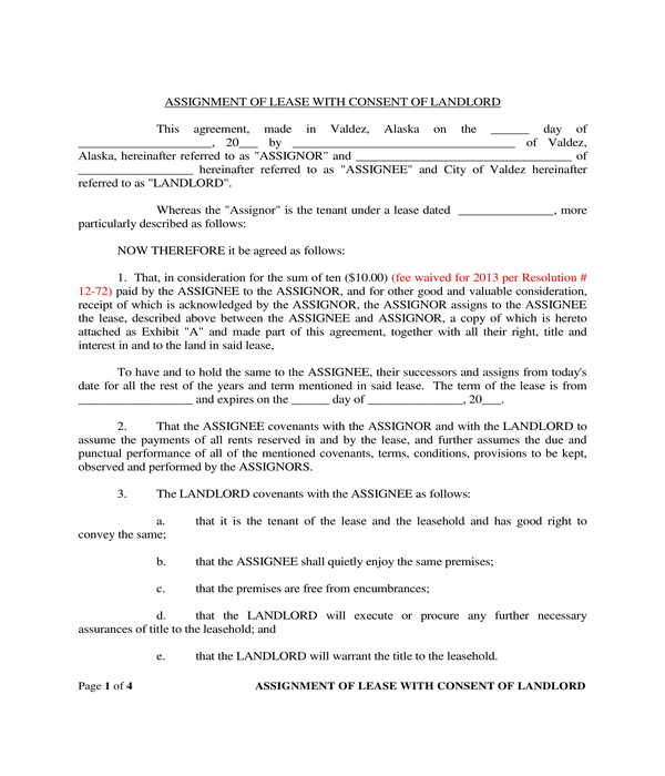 assignment of lease with consent of landlord form