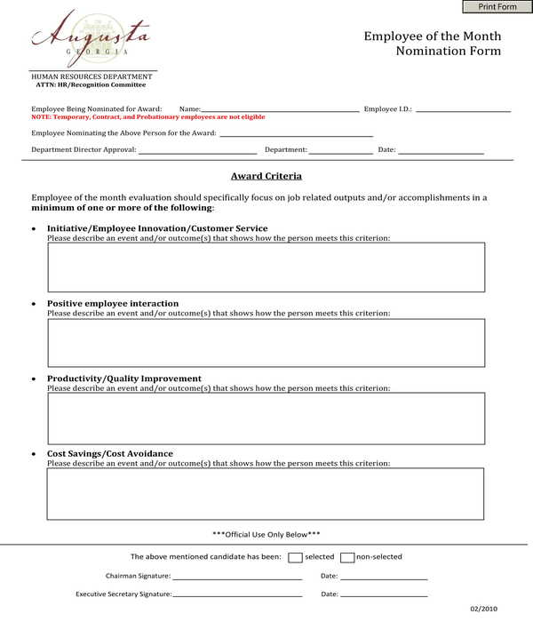 automated employee of the month nomination form