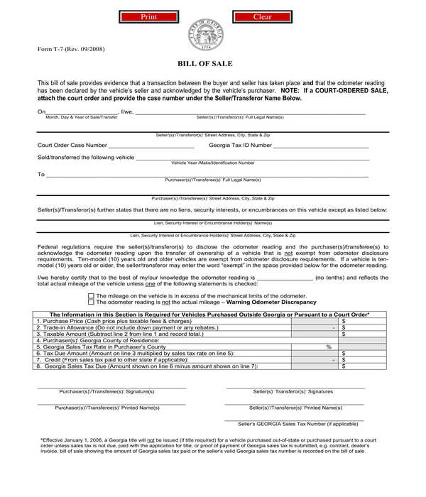 automated general personal property bill of sale form