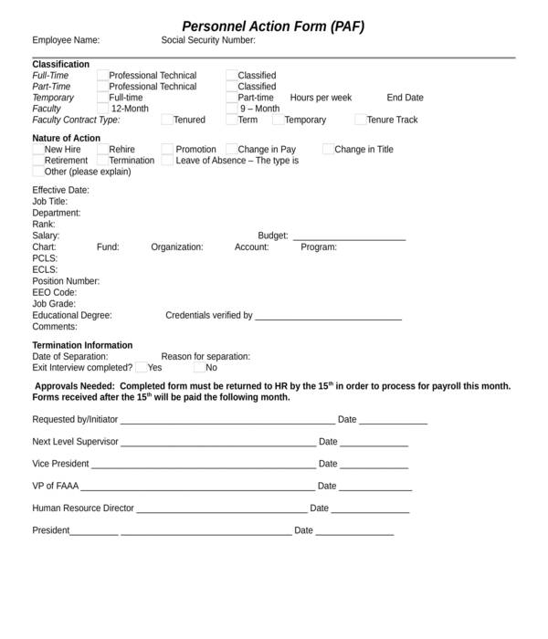 automated personnel action form
