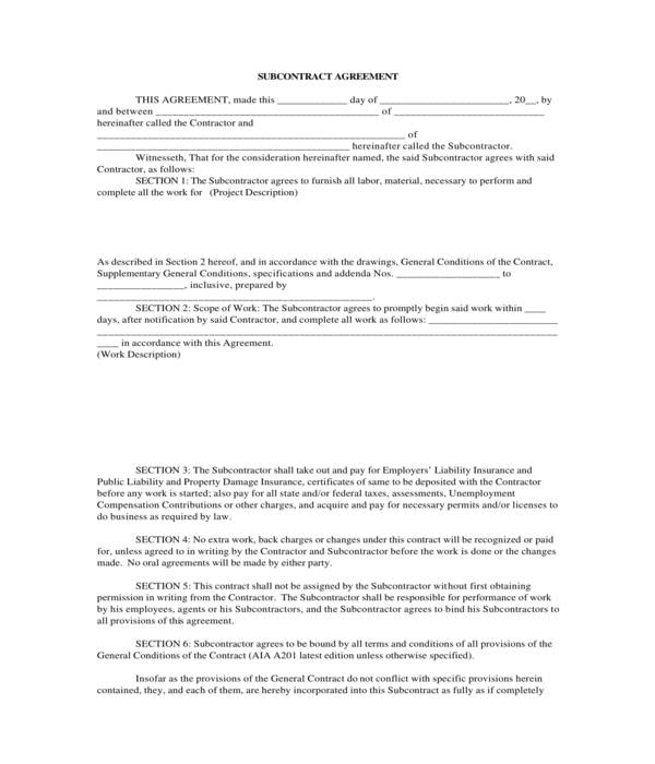 basic construction subcontractor agreement form
