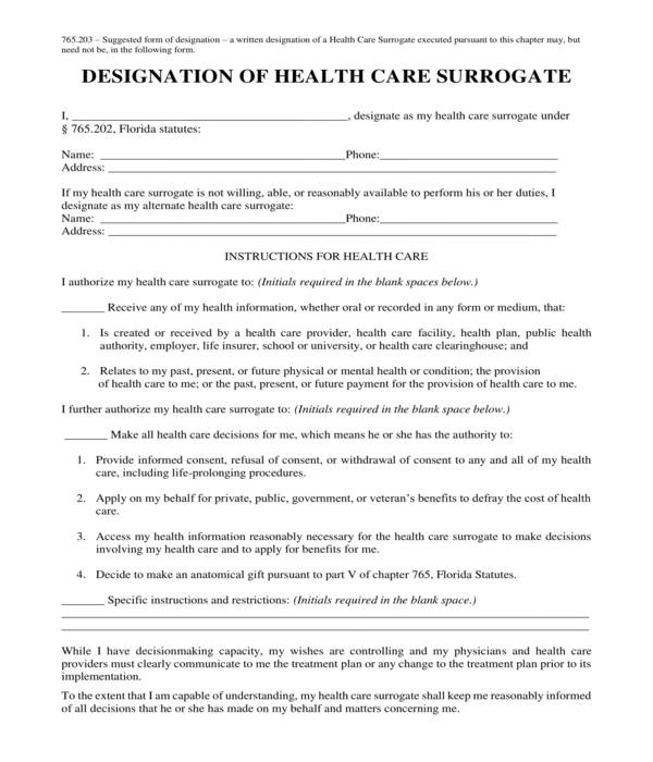 basic health care surrogate designation form