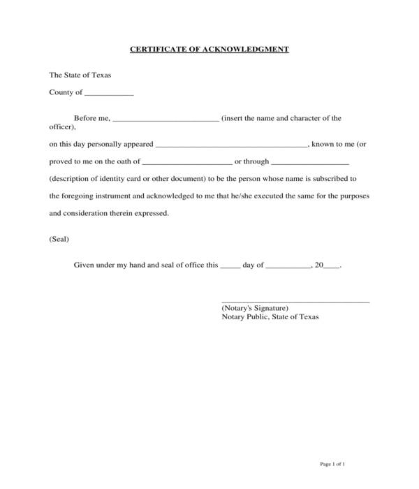 basic notary acknowledgment certificate form