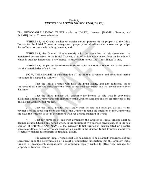 blank revocable living trust form