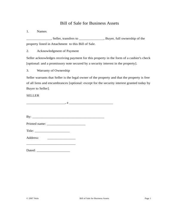 business asset bill of sale form