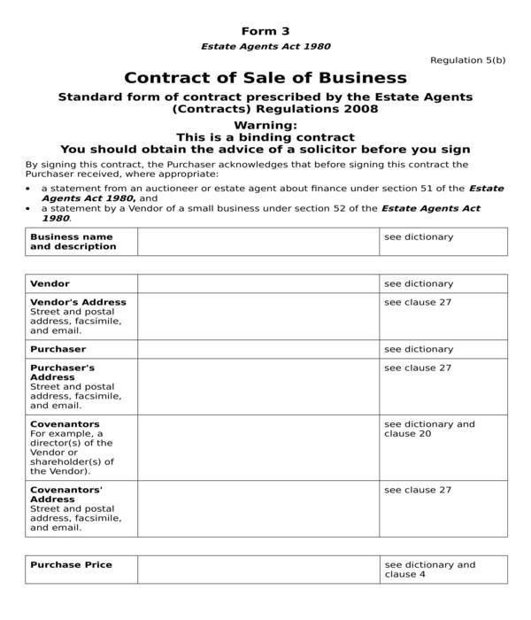 business bill of sale contract form