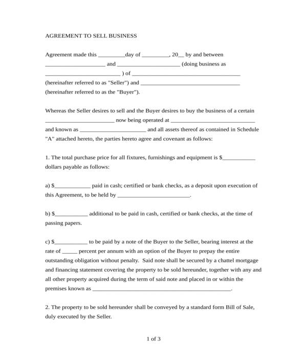 business bill of sale form in doc