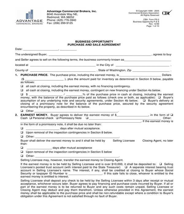 business opportunity bill of sale form