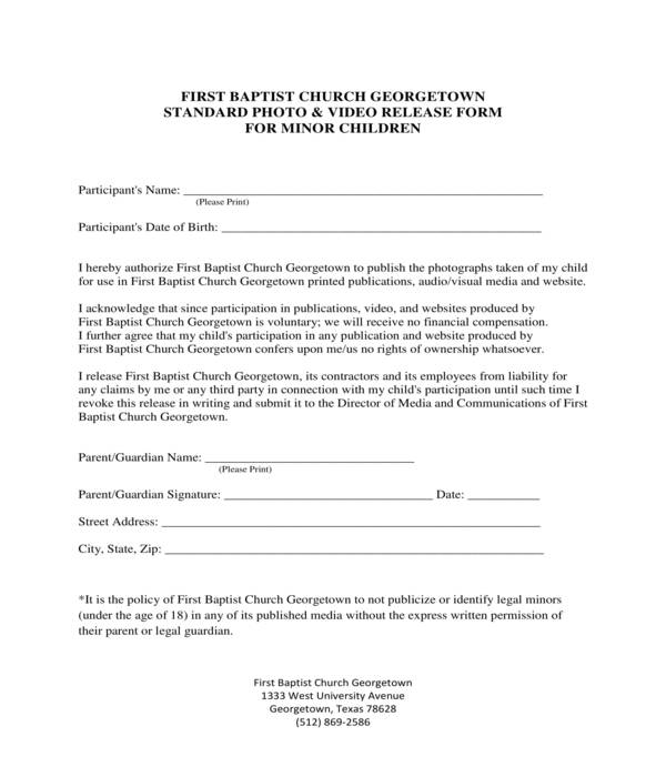 church minor children photo and video release form