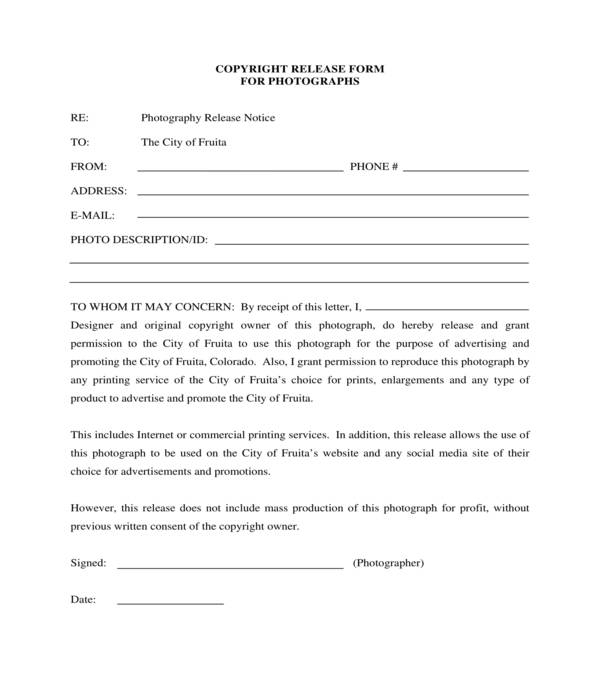 city photograph copyright release form