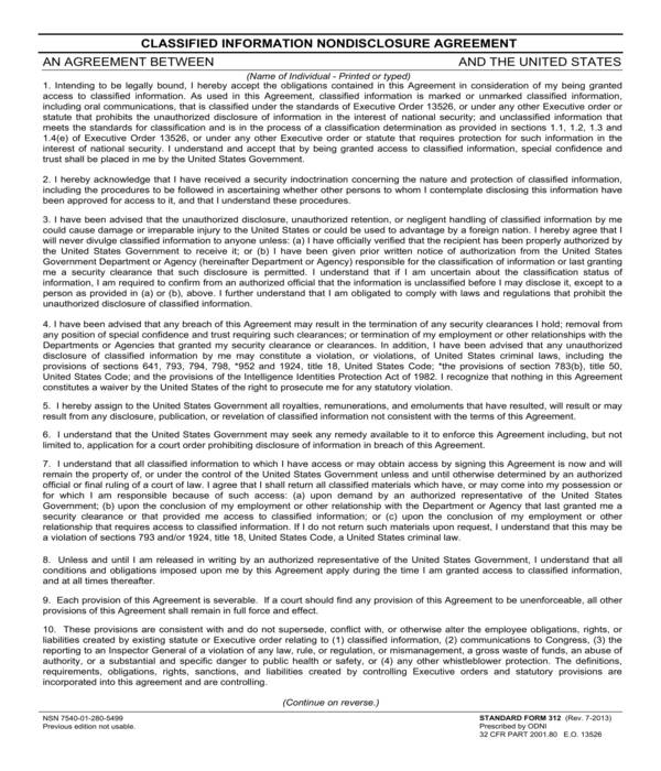 classified information nondisclosure agreement form