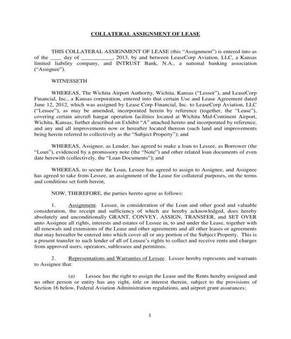 collateral assignment of lease form