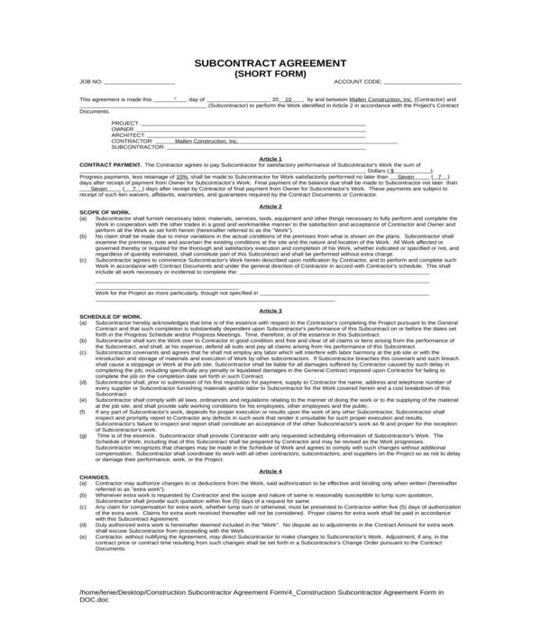 construction subcontractor agreement form in doc