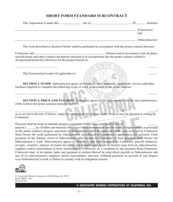 construction subcontractor agreement short form
