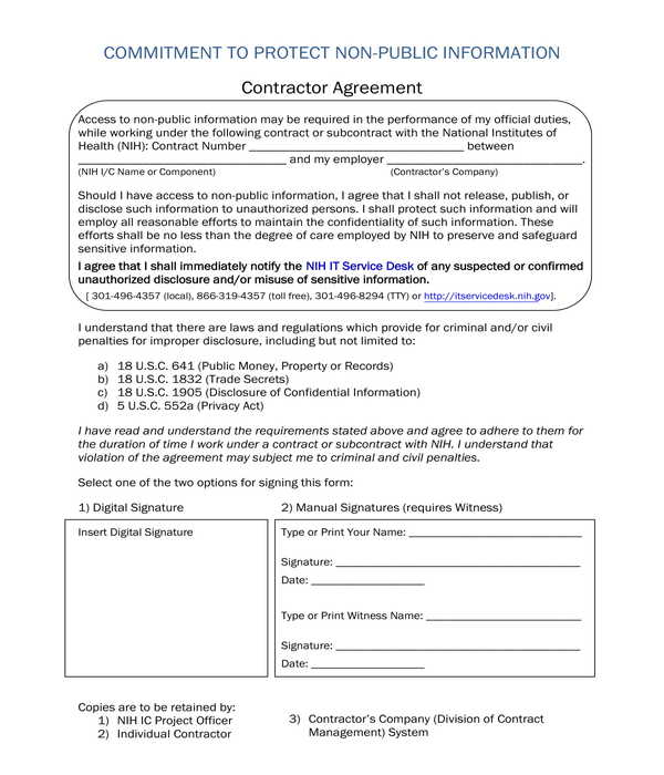contractor nondisclosure agreement form