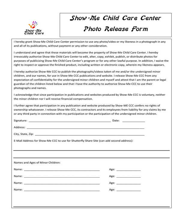 daycare center photo release form