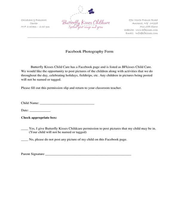 daycare facebook photography release form