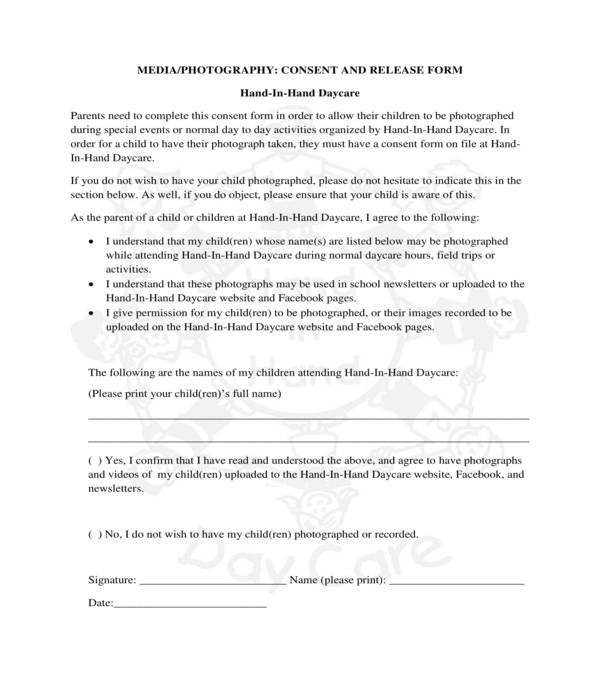 daycare media photography consent and release form