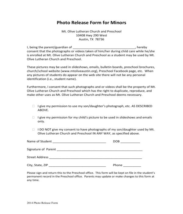 daycare minor photo release form