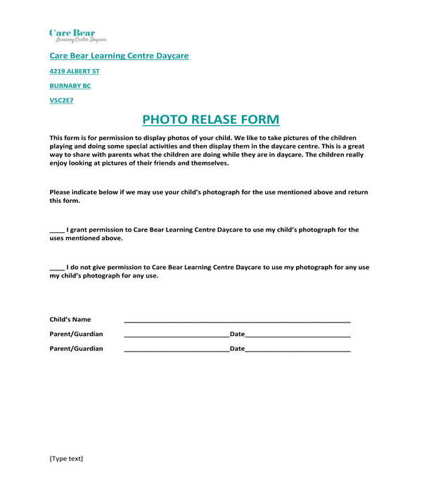 daycare photo release form sample