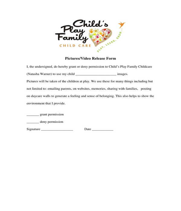 daycare pictures video release form