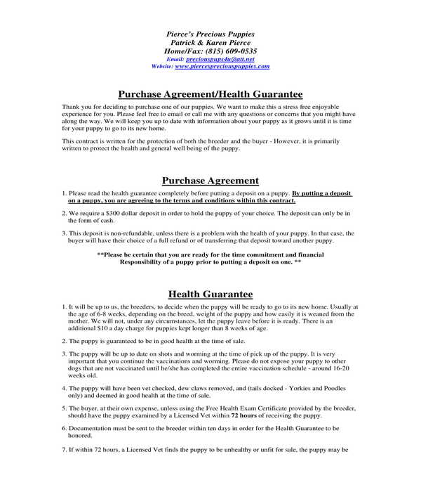 5 Dog Bill Of Sale Forms Pdf Doc