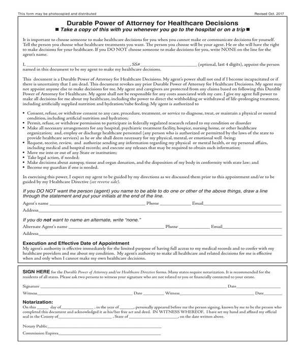 durable healthcare power of attorney form
