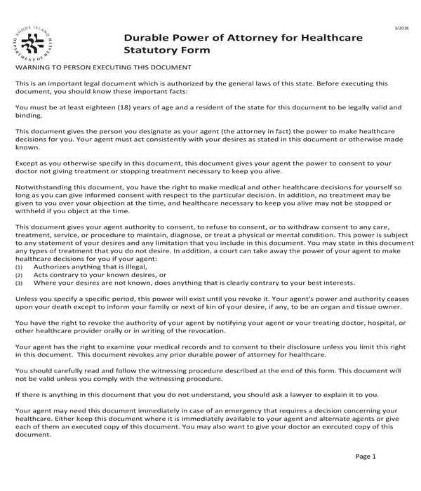 durable healthcare power of attorney statutory form