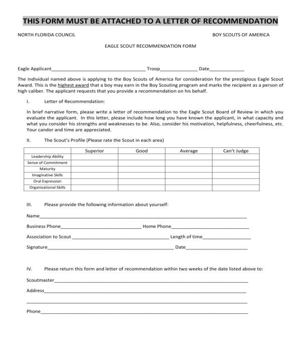 5  eagle scout letter of recommendation forms