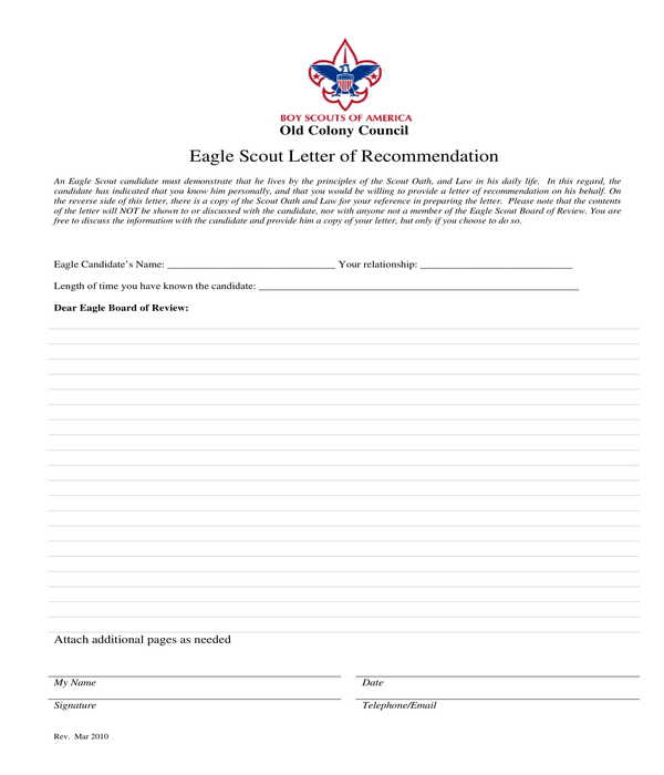free 5  eagle scout letter of recommendation forms in pdf